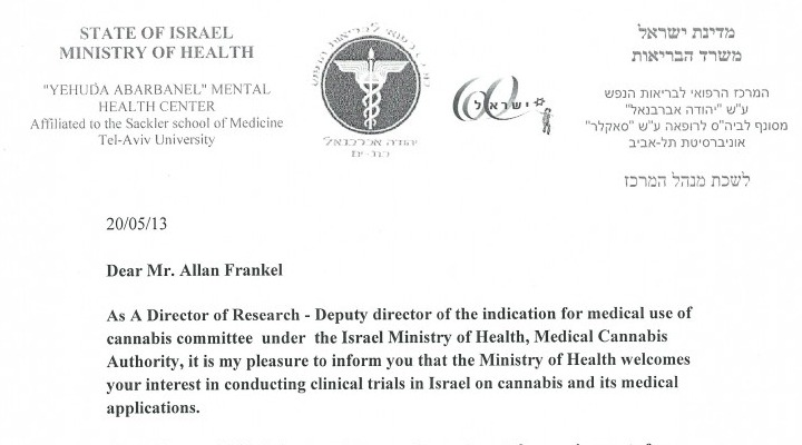 Dr. Frankel received a letter from the Israeli Ministry of Health last May (Photo: greenbridgemed.com)