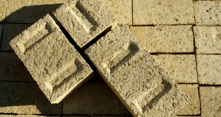 Concrete bricks made from hemp, lime and water