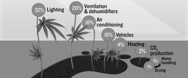 A breakdown of the carbon footprint of the average indoor grow-op (Photo: Persia Salehi/The Daily Californian)