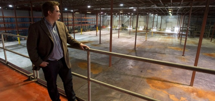Tweed CEO Chuck Rifici standing in the empty Hershey's factory (Photo credit: The Canadian Press/Adrian Wyld))