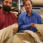 Dr. Jan Slaski and Dr. John Wolodko of Alberta Innovates-Technology Futures conduct research on hemp fibre products at an Edmonton lab. (Photo: AITF)