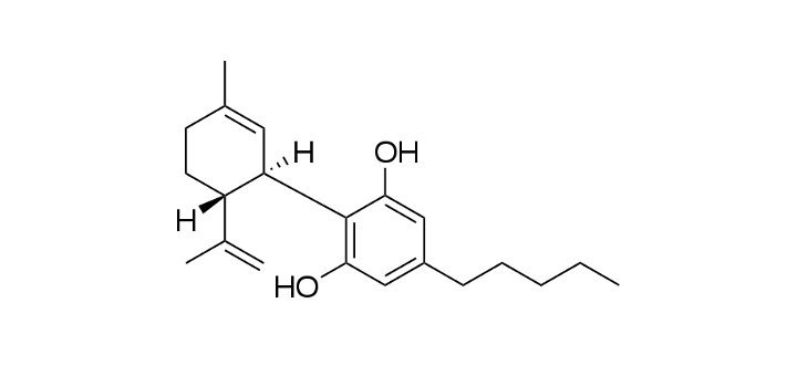 Chemical structure of cannabidiol (Photo: Wikimedia Commons)
