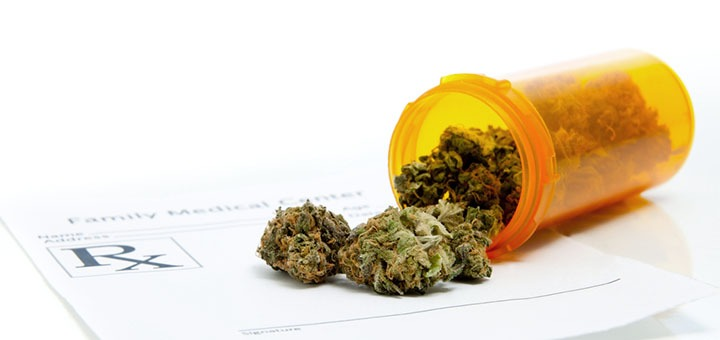 An image of marijuana in a pill bottle, indicating it's being used to treat schizophrenia.