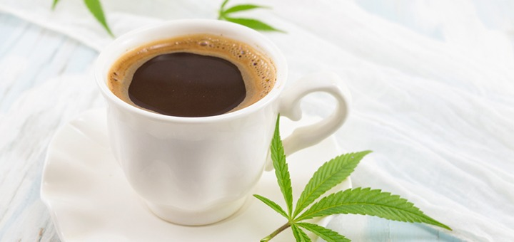 coffee decorated with cannabis leaves